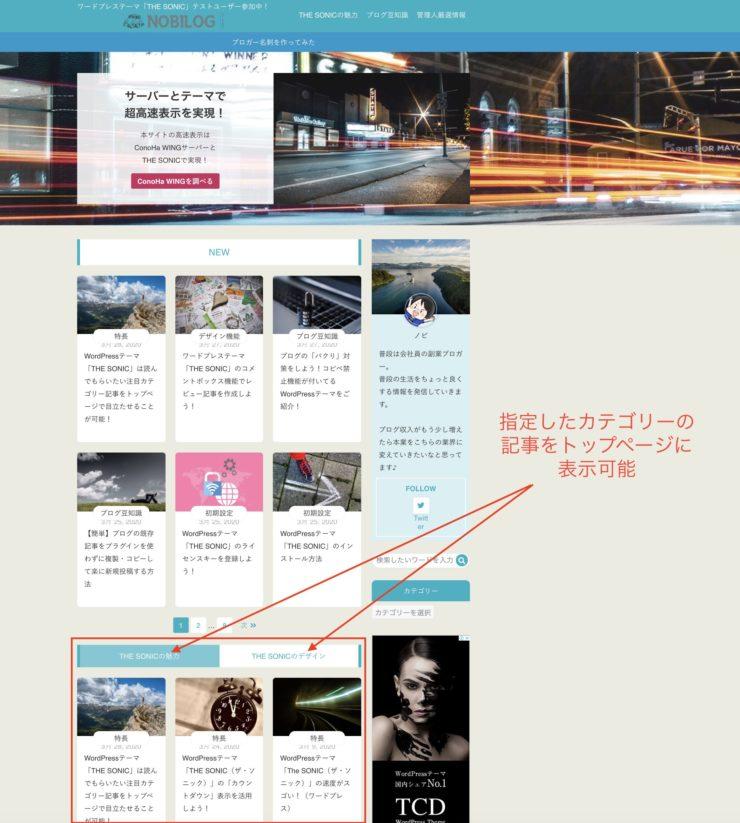 WordPress(ワードプレス)テーマTHE SONICトップカテゴリ機能(1)